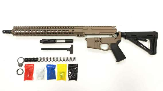 "AR-15 Cerakote FDE Rifle Kit  16"" Stainless Barrel 15"" /FDE Keymod Rail Handguard/  with /FDE 80% Lower/ Black Magpul Moe Stock / Black Magpul Moe Grip /and/ Enhanced Trigger Guard/ - Assemble"