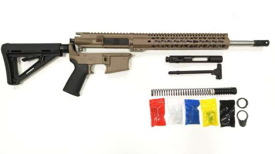 "AR-15 FDE Rifle Kit 16"" Stainless Barrel 12""/ FDE Keymod Rail Handguard /with /FDE 80% Lower/ Black Magpul Moe Stock/  Black Magpul Moe Grip/- Assembled"