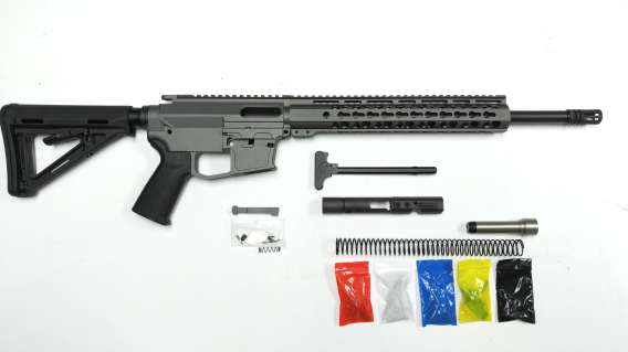 "9 MM Rifle Kit, Cerakote Tungsten Rifle Kit 16"" Phosphate Barrel, Tungsten Keymod Rail Handguard with Tungsten 80% Lower/ Black Magpul Moe Stock / Black Magpul Moe Grip"